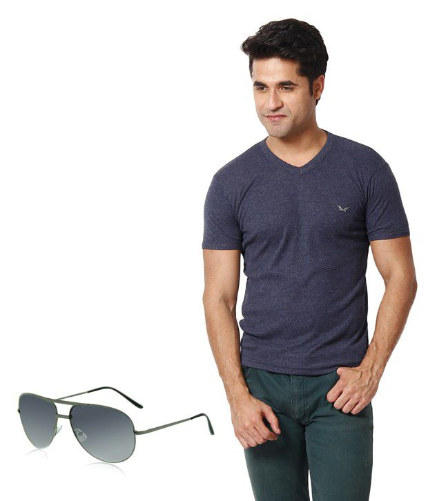 Zion Exclusive Navy T ShirtWith Free Sunglass