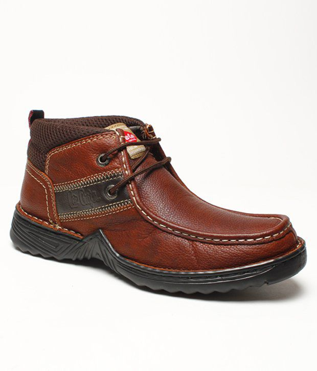 Lee Cooper Sturdy Brown Ankle Length Boots Price in India