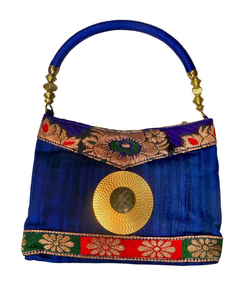 Bhamini Resham Handle Round Brooch Multi-colour Border Potli