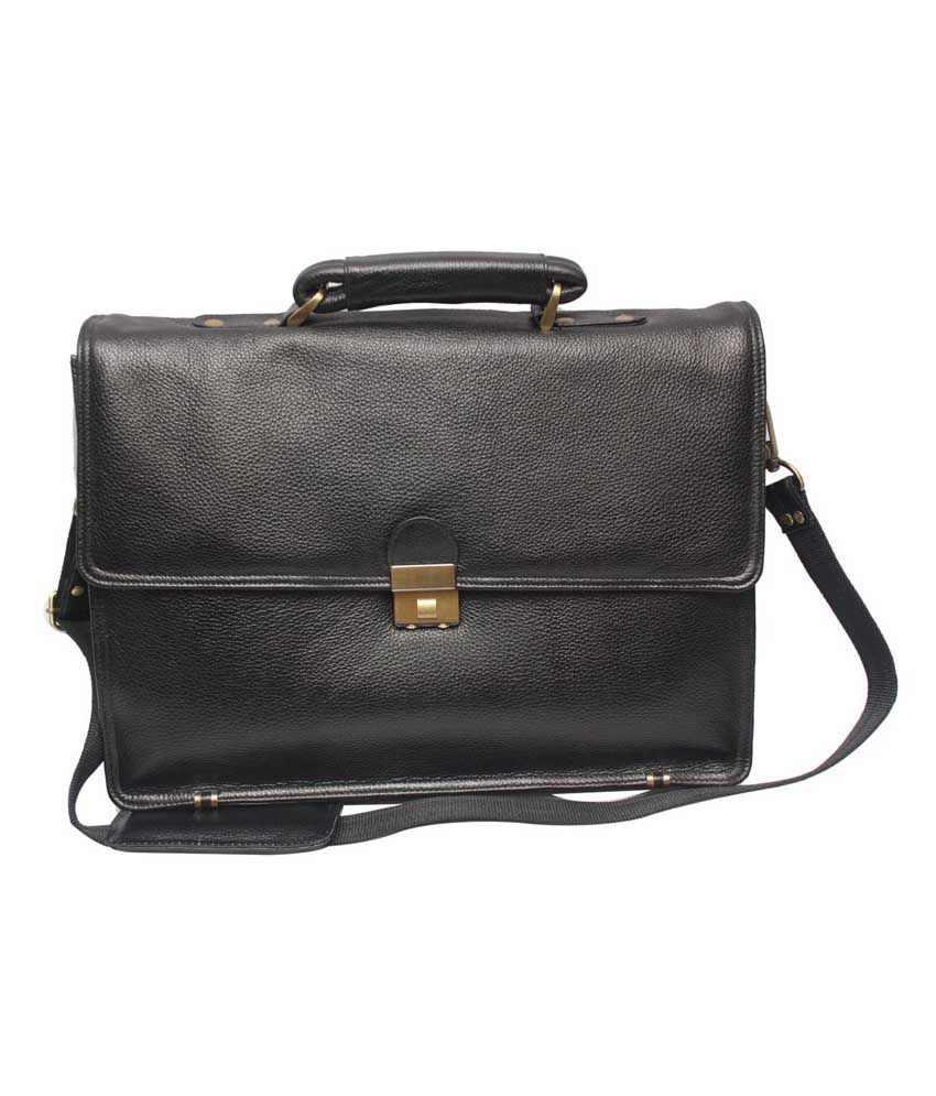 C Comfort Black Leather 13 inch Laptop Messenger Bags