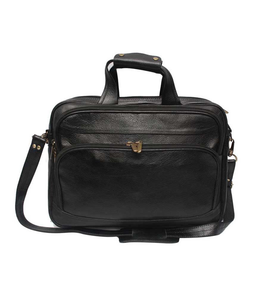 C Comfort Black Leather 15 inch Laptop Messenger Bags