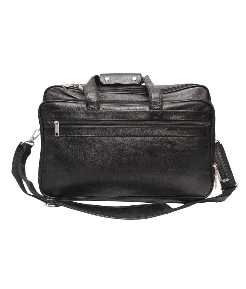 C Comfort Black Leather Expandable 17 inch Laptop Messenger Bags
