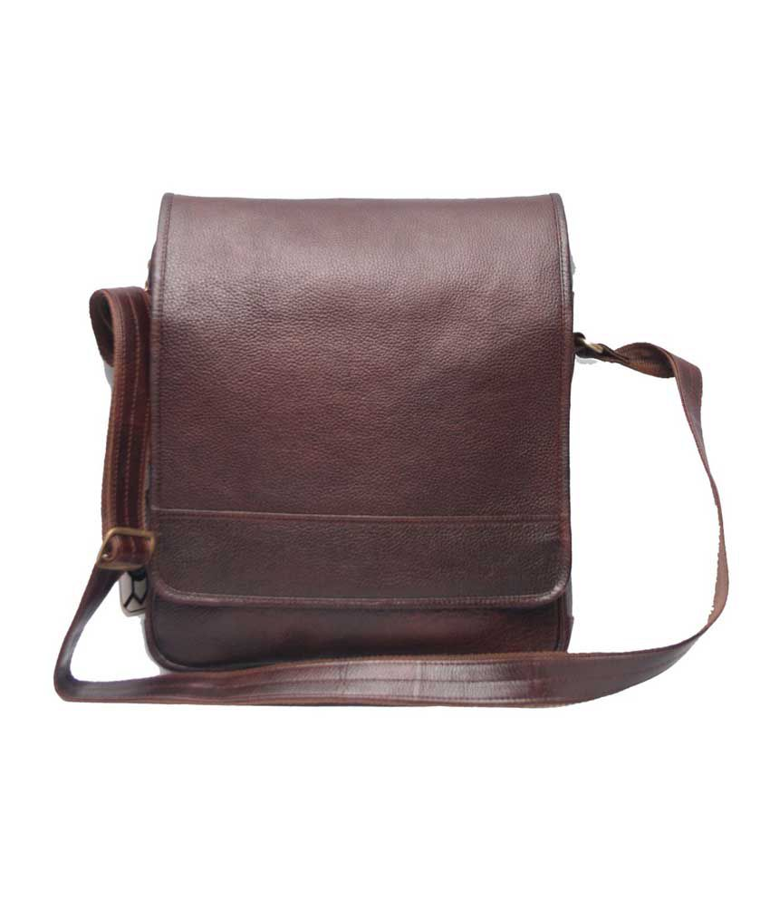 C Comfort Designer Brown Leather 13 inch Laptop Messenger Bags