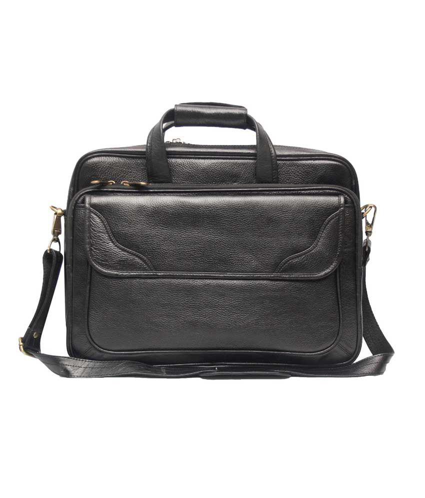 C Comfort Shoulder Black Leather 15 inch Laptop Messenger Bags