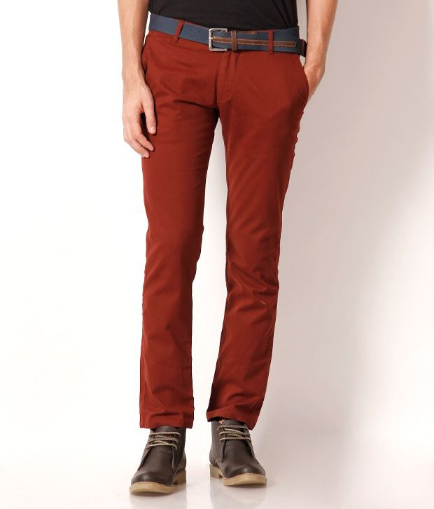 Fever Red Slim Chinos Trouser