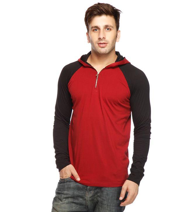 Gritstones Maroon-Black Hooded T Shirt