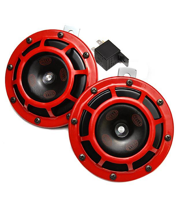 Loud Car Horn >> Hella Powerful Loud Stylish Red Grill Horn For Car And Bike Set