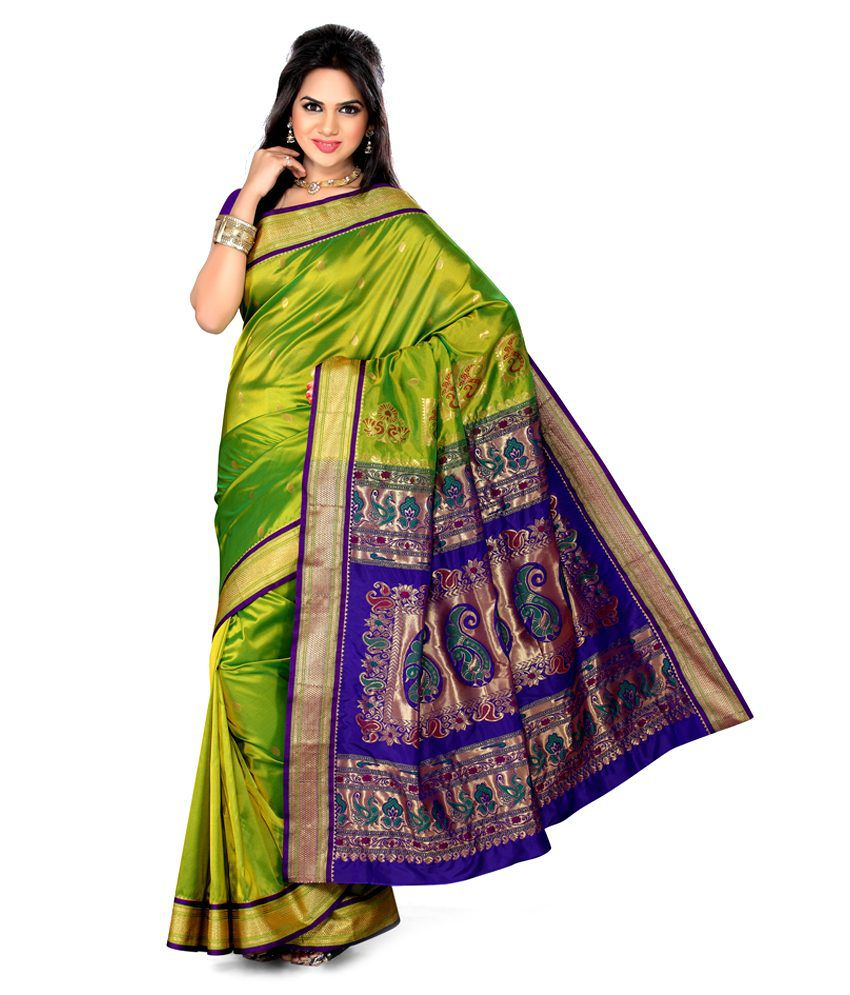 b3154cfc4ed Ishin Green and Purple Art Silk Paithani Saree - Buy Ishin Green and Purple Art  Silk Paithani Saree Online at Low Price - Snapdeal.com