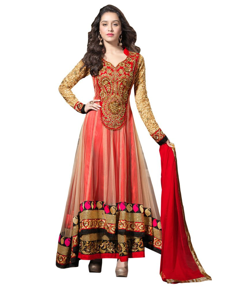 bcbc868c45 Indian Wear Online Red and Beige Net Unstitched Dress Material - Buy Indian  Wear Online Red and Beige Net Unstitched Dress Material Online at Best  Prices in ...