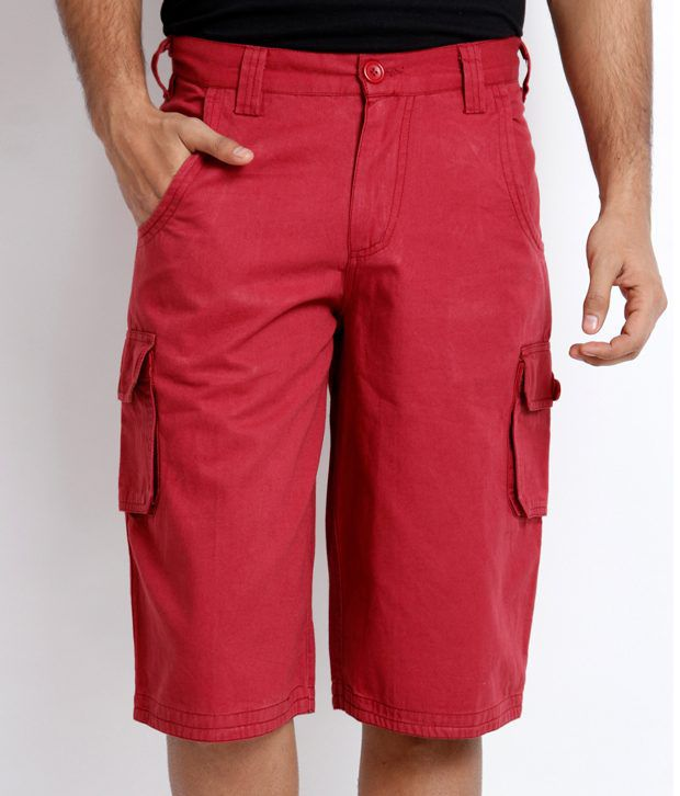 Skookie Red Cotton Cargo Shorts