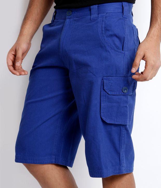 Skookie Royal Blue Cotton Cargo Shorts