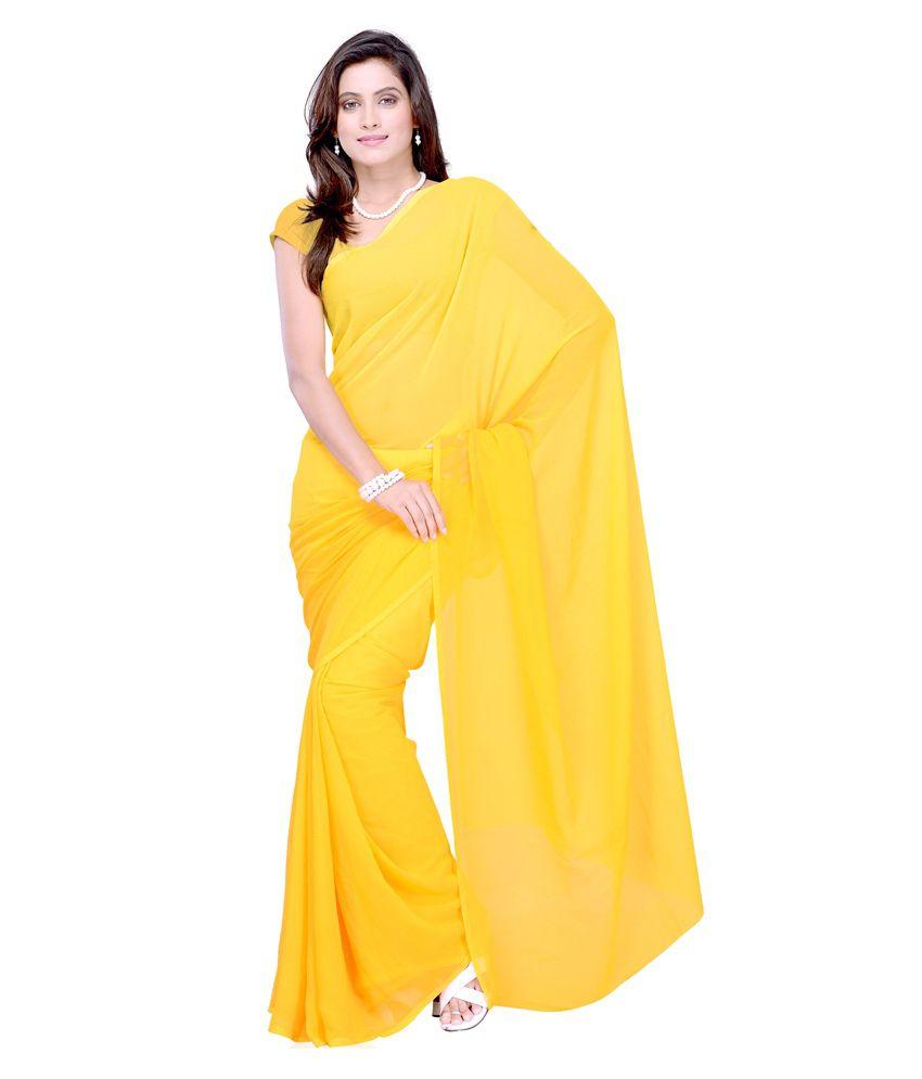 Sonika Yellow Chiffon Saree
