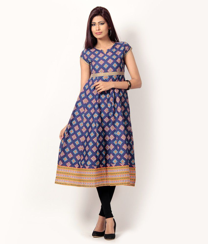 05b239b62 VISHUDH Navy Blue Printed Cotton Anarkali Kurti - Buy VISHUDH Navy Blue  Printed Cotton Anarkali Kurti Online at Best Prices in India on Snapdeal