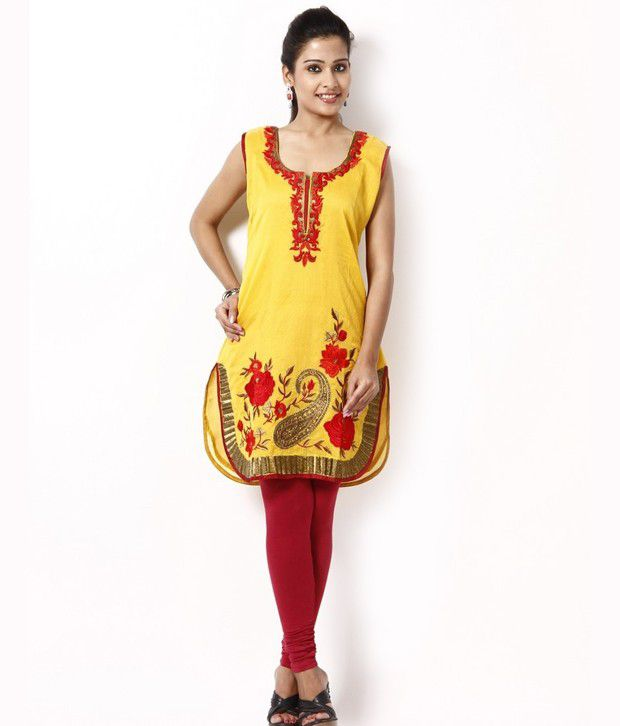 Concepts Yellow Embroidered Salwar Suit