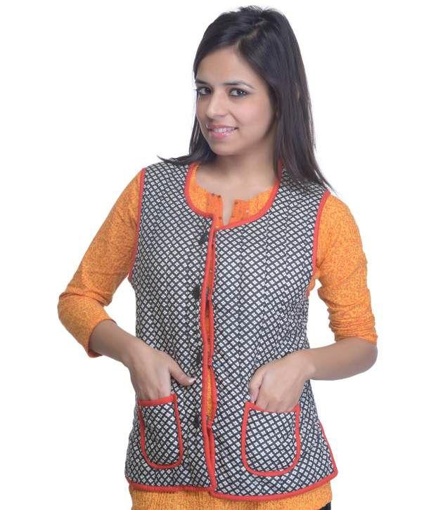 Buy Shree Black Sleeveless Cotton Women - Reversible Jackets