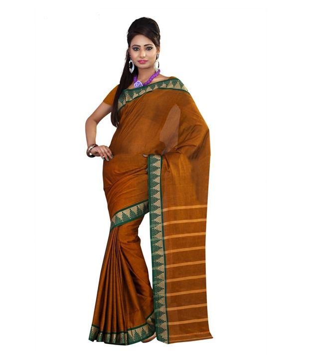 Cotton Bazaar Brown Cotton Saree