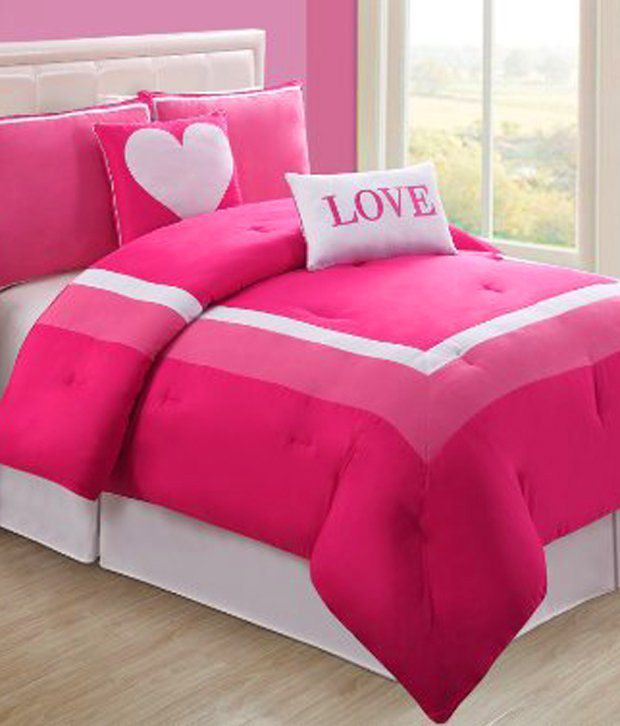 4 Pc Modern Pink And White Teen Girl Comforter Set Twin