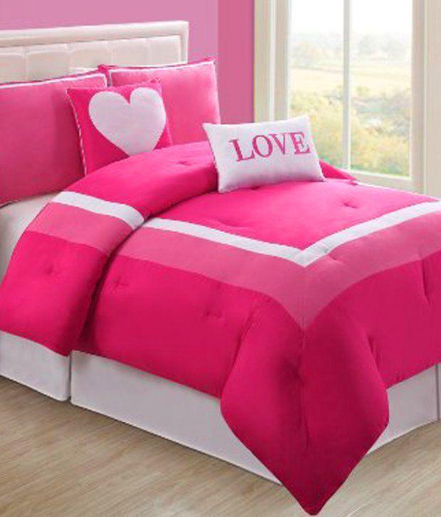 4 Pc Modern Pink and White Teen/girl Comforter Set Twin ...