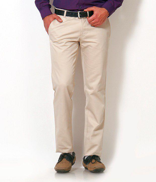 Just Henry Beige Casual Designer Double Pocket Trouser