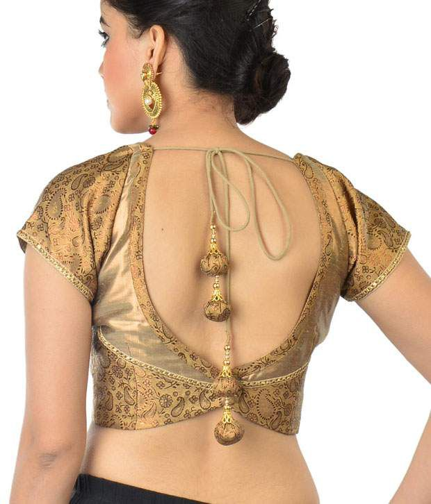 9rasa Gold-coloured Brocade Blouse - Buy 9rasa Gold-coloured ...