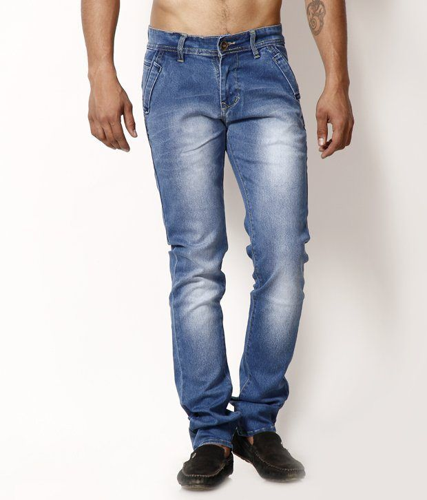 HDI Decent Light Blue Jeans with Free Wrist Watch