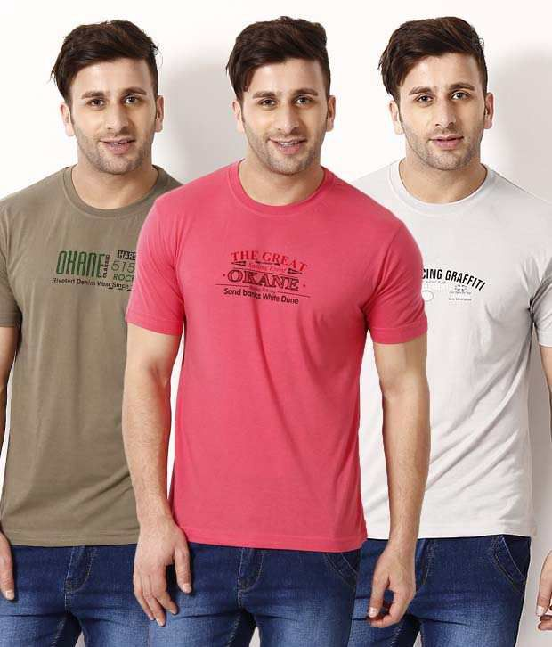 Okane Pink-Taupe-Gray Combo of 3   Printed T Shirts