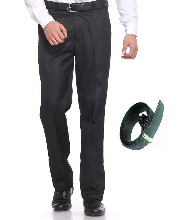 Praado Combo Of Black Classic Trouser & Belt