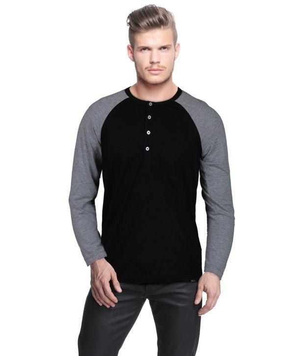 Rigo Classic Black Henley Neck T Shirt