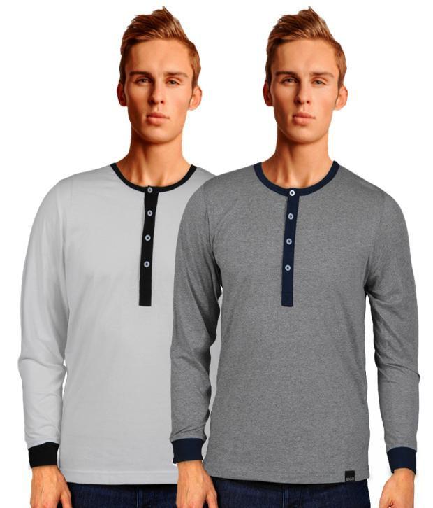 Rigo Classic Pack Of 2 Grey Henley Neck T Shirts