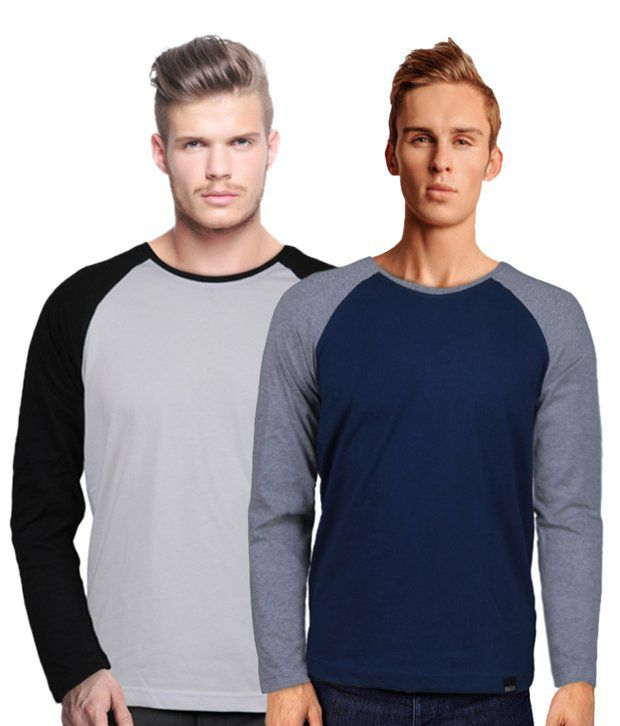 Rigo Cool Pack Of 2 Kangaroo Pocket Grey-Navy T Shirts