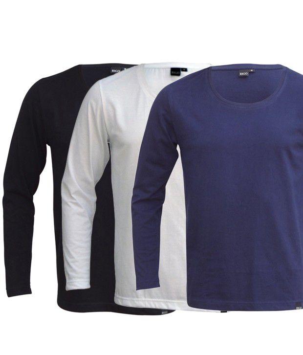 Rigo Cool Pack Of 3 Black-White-Blue T Shirts
