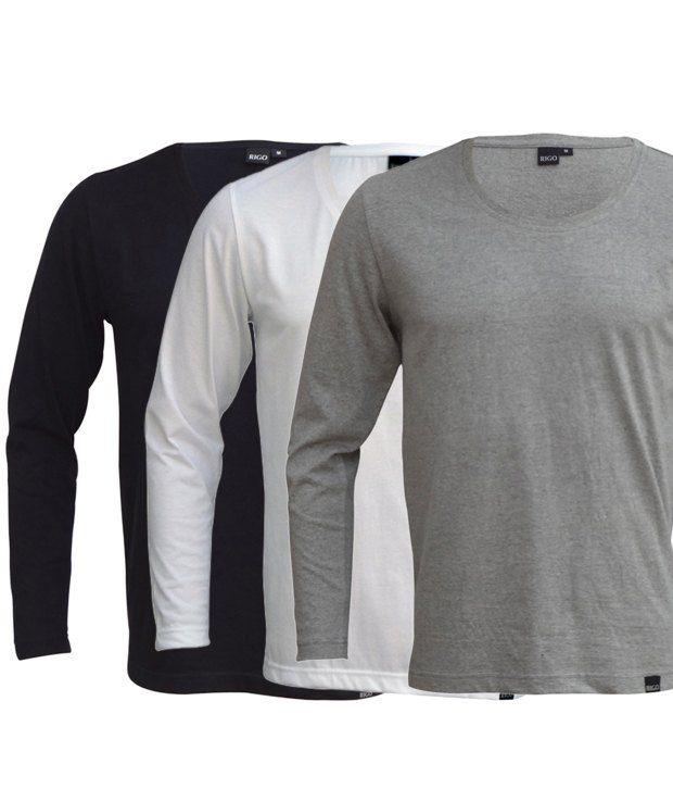 Rigo Exclusive Pack Of 3 Black-White-Grey T Shirts