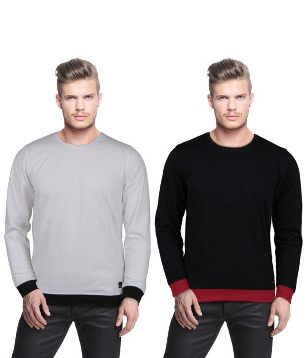 Rigo Smart Pack Of 2 Grey-Black T Shirts