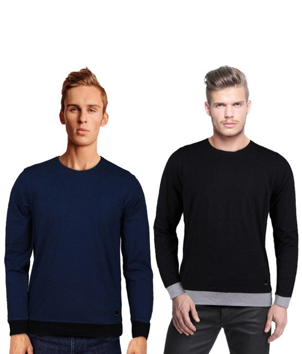 Rigo Smart Pack Of 2 Navy-Black T Shirts