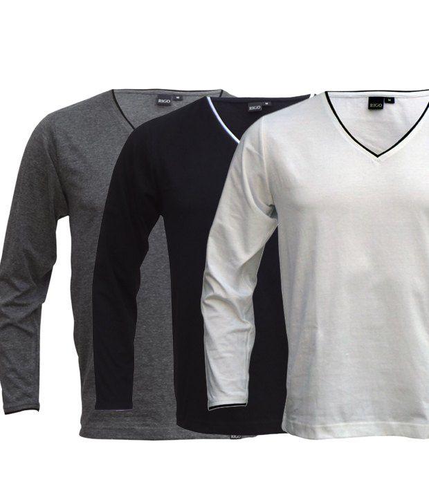 Rigo Smart Pack Of 3 Grey-White-Black V Neck T Shirts
