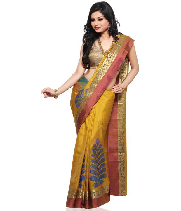 9aadd632a042b8 Utsav Fashion Mustard Pure Kanchipuram Handloom Silk Saree with Blouse -  Buy Utsav Fashion Mustard Pure Kanchipuram Handloom Silk Saree with Blouse  Online ...