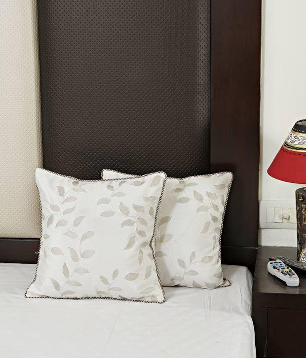 Aapno Rajasthan White Cushion Cover Set - 2 Pcs
