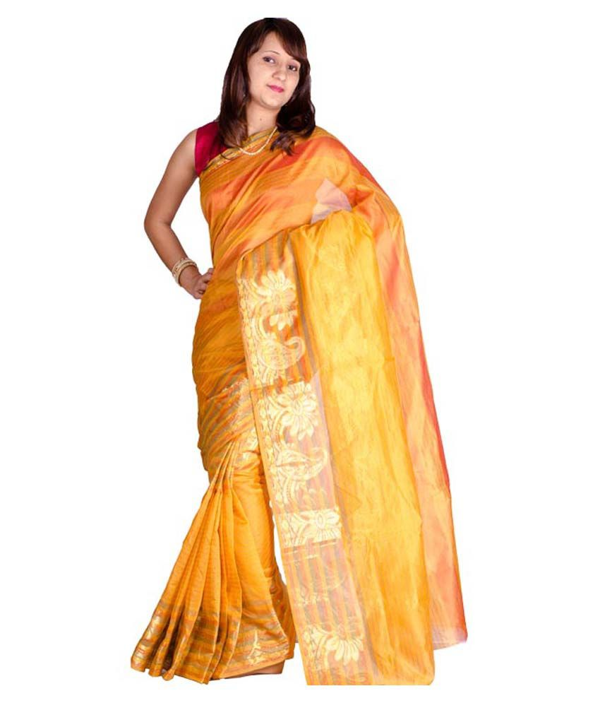 76482af460 Chandrakala Yellow and Orange Cotton Silk Saree - Buy Chandrakala Yellow  and Orange Cotton Silk Saree Online at Low Price - Snapdeal.com