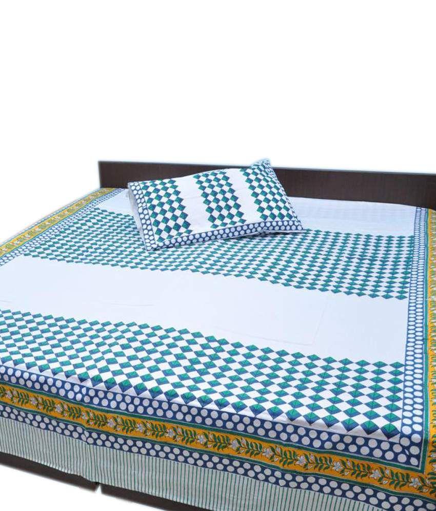 jaipur raga cotton hand block print white king size bed sheet jaipur raga cotton hand block print white king size bed sheet 2 pillow covers