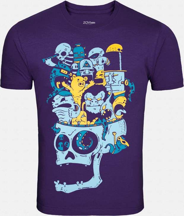 Zovi Appealing Purple Printed T Shirt
