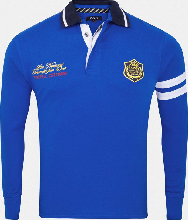 Zovi Elegant Royal Blue Full Sleeve Polo T-Shirt