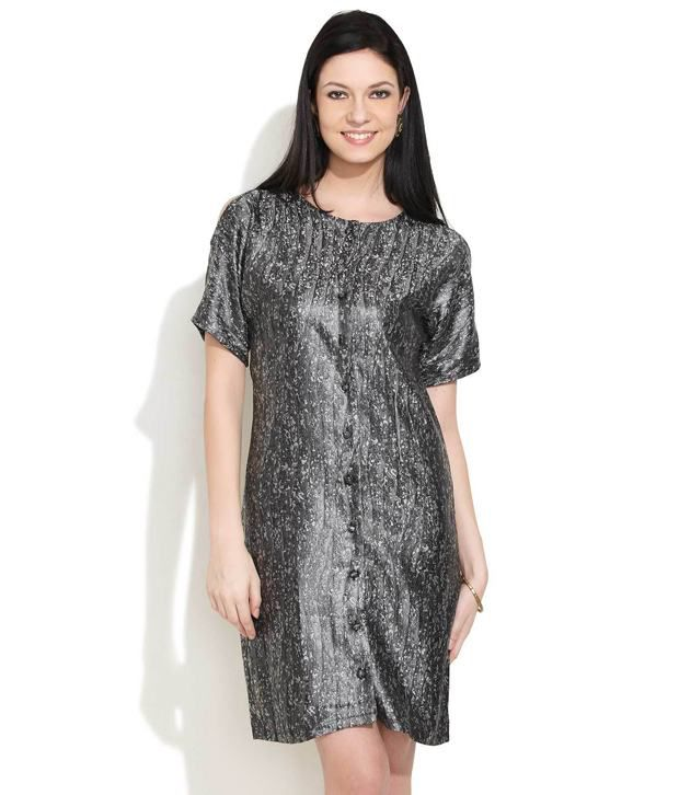 Avirate Gray Cotton Button-Front Dress