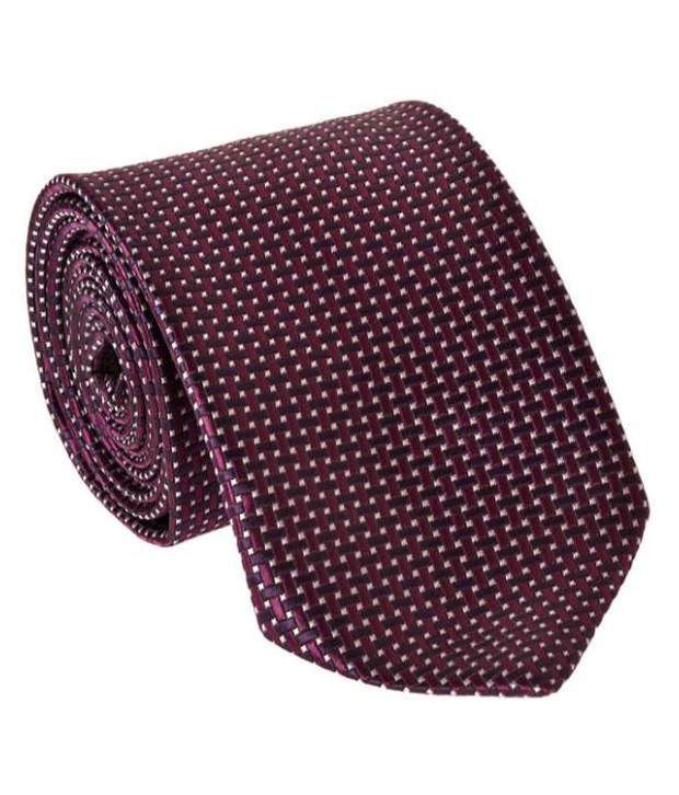 Milano X'Xssories Tiny White Square Pattern On Brown-Red Background Necktie