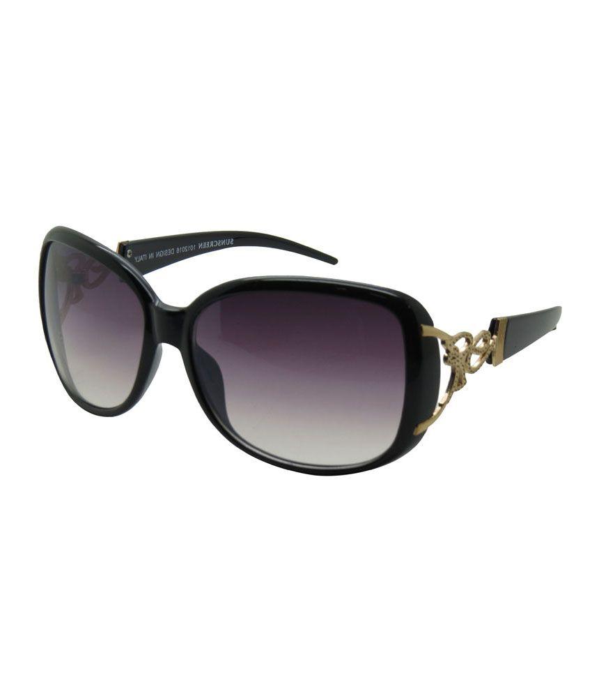 Royal Black Glossy Designer Oval Women Sunglasses Td8343