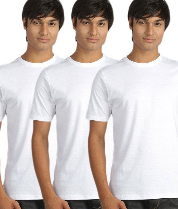Campus Sutra Modish White Pack Of 3 T-Shirts