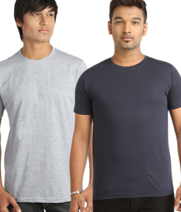 Campus Sutra Trendy Gray And Blue Pack Of 2 T-Shirts