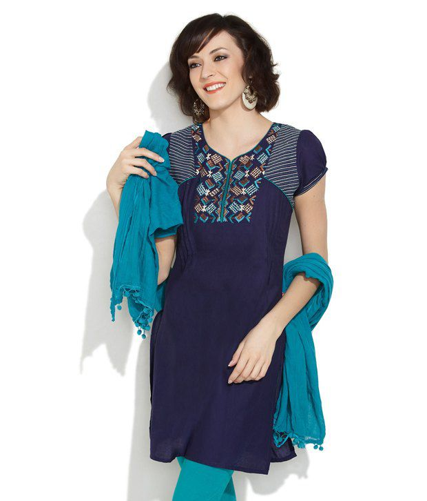Lovely Lady Dark Blue Trendy Panache Embroidered Kurta