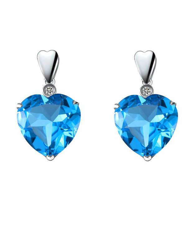 VIDEE Real Diamond & Blue Topaz Heart Silver Earring