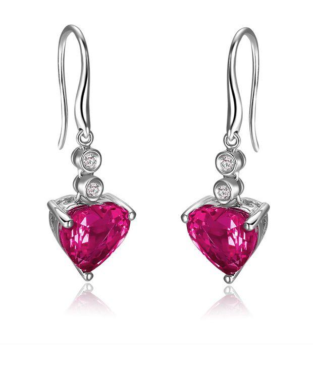 VIDEE Real Diamond & Lab Created Ruby Gemstone Silver Earring