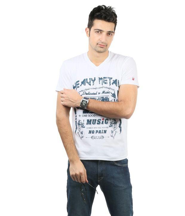 Blumerq White Cotton V-neck Printed T Shirt